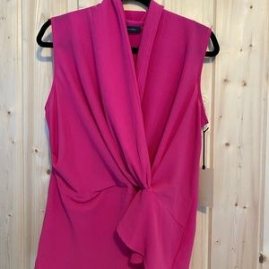 Halogen pink sleeveless blouse with knot detail